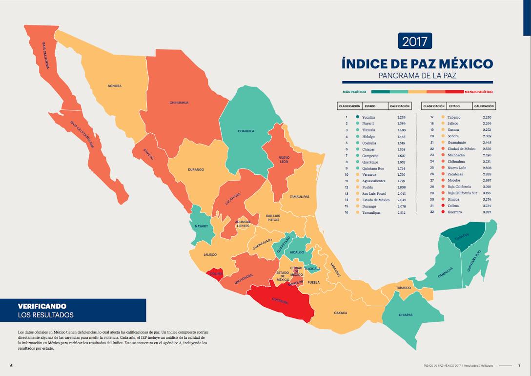Estados De México: Índice De Paz México 2016 Vía El Instituto Para La