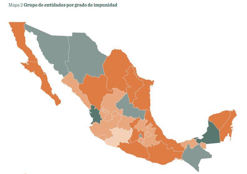 Mapa entidades por grado de impunidad