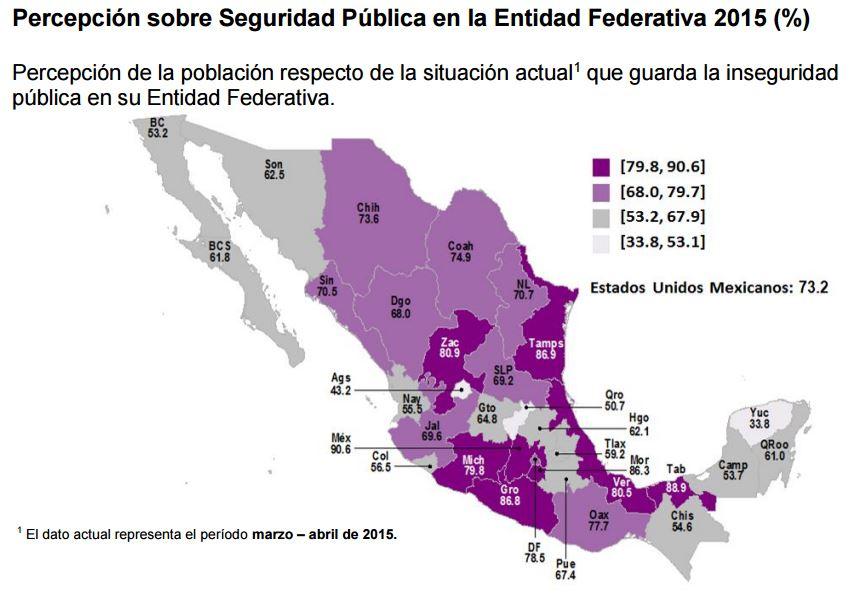Percepción sobre seguridad pública en la entidad federativa